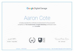 Digital Garage Certificate for Aaron Cote
