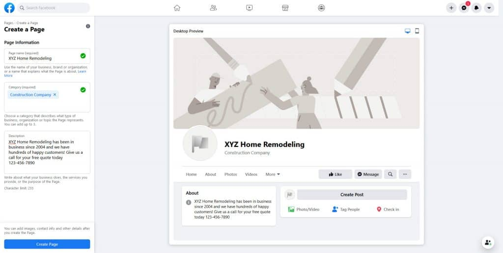 Facebook Screen To Add Information When Creating Facebook Page
