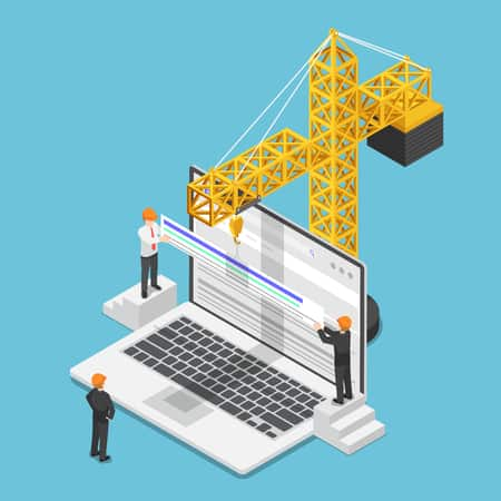 graphic of crane above a laptop with construction workers standing around